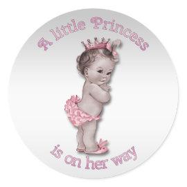 Vintage Princess Baby Shower Sticker