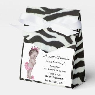 Vintage Princess Baby Shower Zebra Pattern Favor Box