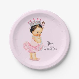 Vintage Princess Ballerina Tutu Pearls Baby Shower Paper Plate