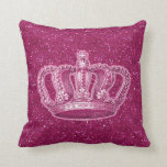 Vintage Princess Crown on Hot Pink Glitter Sparkle Pillow