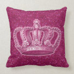 Vintage Princess Crown on Hot Pink Glitter Sparkle Pillows