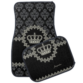 Vintage Princess Damask Crown Car Floor Mat