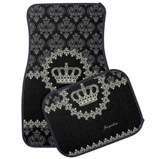 Vintage Princess Damask Crown Car Floor Mat