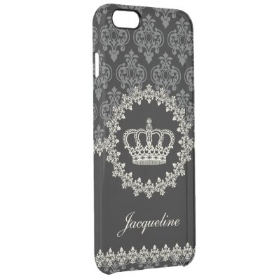 Vintage Princess Damask Crown Clear iPhone 6 Plus Case