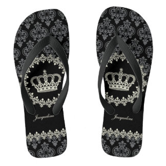 Vintage Princess Damask Crown Flip Flops