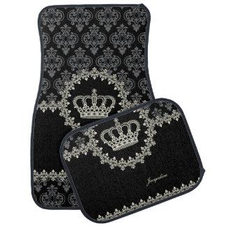 Vintage Princess Damask Crown Floor Mat