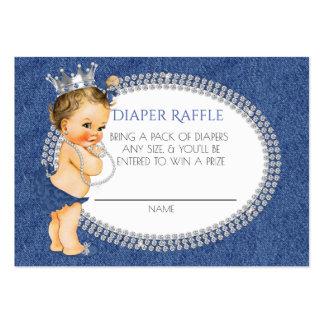 Vintage Princess Denim & Diamonds Diaper Raffle Large Business Card