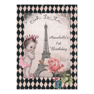 Vintage Princess Eiffel Tower Baby 1st Birthday Card
