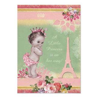 Vintage Princess Eiffel Tower Baby Shower Card