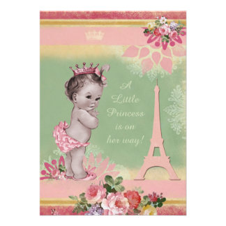 Vintage Princess Eiffel Tower Baby Shower Personalized Invite
