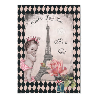 Vintage Princess Eiffel Tower Rose Baby Shower 5x7 Paper Invitation Card