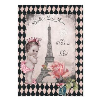 Vintage Princess Eiffel Tower Rose Baby Shower 5x7 Paper Invitation Card