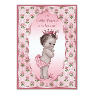 Vintage Princess Girl and Pink Roses Baby Shower 5x7 Paper Invitation Card