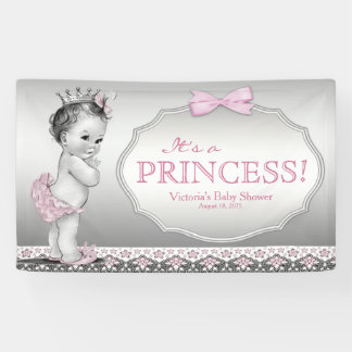 Vintage Princess Girl Baby Shower Banner