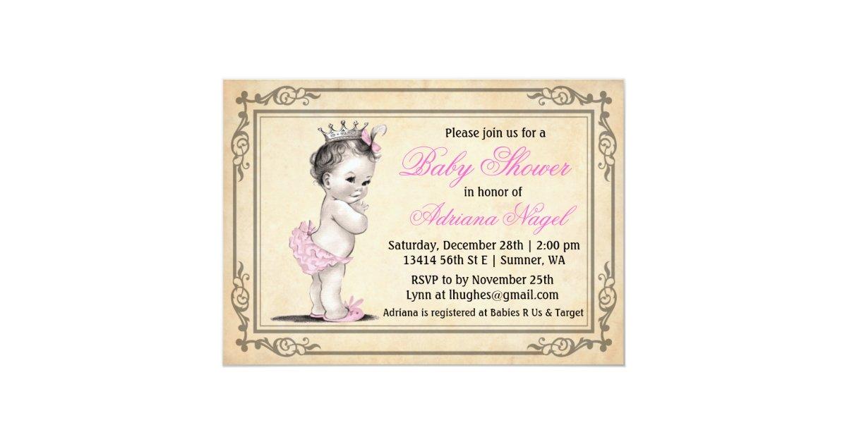 Baby Shower Invitations Girl Vintage ~ Vintage princess girl baby shower invitations zazzle