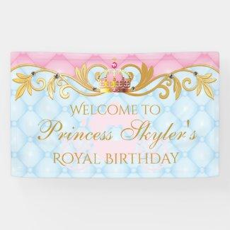 Vintage Princess, Gold and Pink Birthday Banner