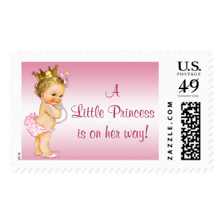 Vintage Princess Pearls Baby Shower Postage