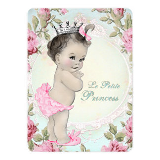 """Vintage Princess Pink and Teal Blue Baby Shower 5.5"""" X 7.5"""" Invitation Card"""