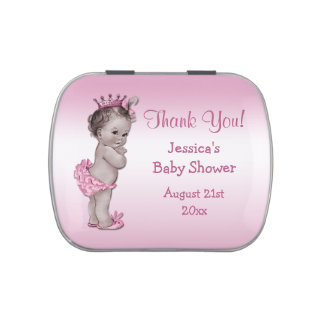 Vintage Princess Pink Baby Shower Thank You Favor Jelly Belly Candy Tin