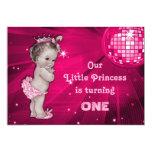 "Vintage Princess Pink Disco Ball 1st Birthday 5"" X 7"" Invitation Card"