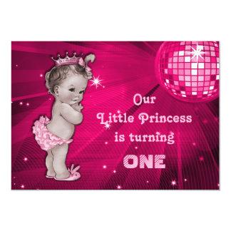 Vintage Princess Pink Disco Ball 1st Birthday Invitations