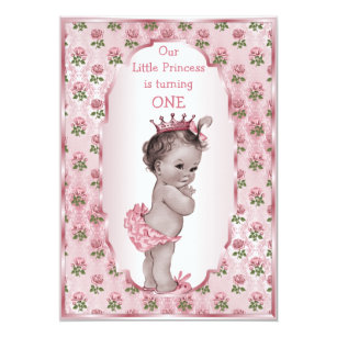 Vintage Princess Pink Roses 1st Or 2nd Birthday Invitation