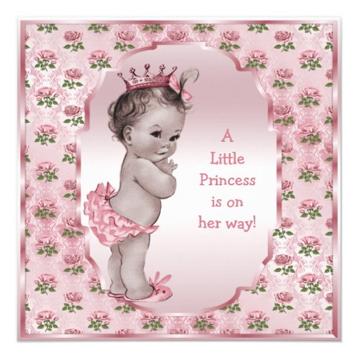 Personalized prince and princess baby shower invitations vintage princess pink roses baby shower filmwisefo