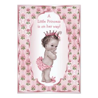 Vintage Princess Pink Roses Baby Shower 5x7 Paper Invitation Card