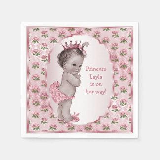 Vintage Princess Pink Roses Baby Shower Standard Cocktail Napkin