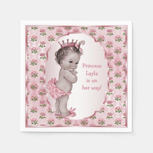 vintage princess pink roses baby shower paper napkins