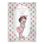 Vintage Princess Pink Roses Silver Baby Birthday Personalized Announcement