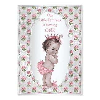 Vintage Princess Pink Roses Silver Baby Birthday 5x7 Paper Invitation Card