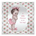 Vintage Princess Pink Roses Silver Baby Shower Invite