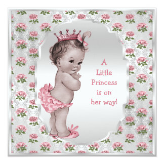 Vintage Princess Pink Roses Silver Baby Shower 5.25x5.25 Square Paper Invitation Card