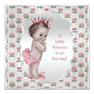 "Vintage Princess Pink Roses Silver Baby Shower 5.25"" Square Invitation Card"