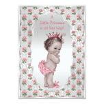 Vintage Princess Pink Roses Silver Baby Shower Custom Announcement