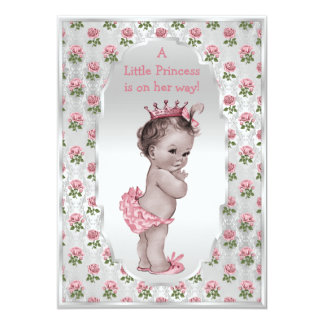 "Vintage Princess Pink Roses Silver Baby Shower 5"" X 7"" Invitation Card"