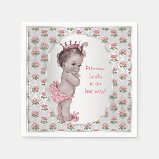 Vintage Princess Pink Roses Silver Baby Shower Paper Napkin