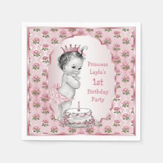 Vintage Princess Roses 1st Birthday Cake Pink Disposable Napkin