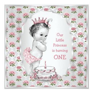 Vintage Princess Roses 1st Birthday Cake Silver 5.25x5.25 Square Paper Invitation Card