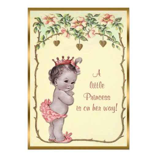 Vintage Princess Roses & Hearts Baby Shower Custom Announcement