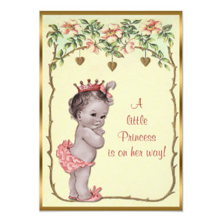 "Vintage Princess Roses & Hearts Baby Shower 5"" X 7"" Invitation Card"