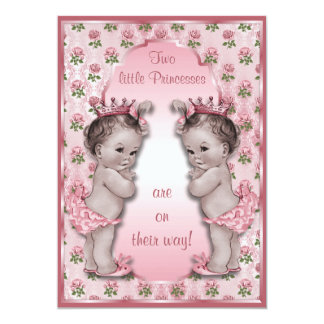 Vintage Princess Twins and Pink Roses Baby Shower 5x7 Paper Invitation Card