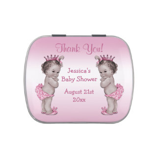 Vintage Princess Twins Baby Shower Thank You Favor Jelly Belly Tin