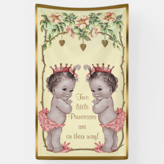 Vintage Princess Twins Roses and Hearts Banner