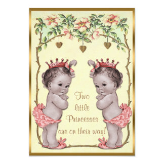 Vintage Princess Twins Roses & Hearts Baby Shower 5x7 Paper Invitation Card