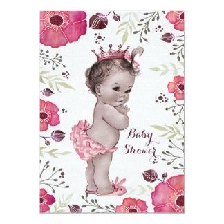 Vintage Princess Watercolor Poppies Baby Shower 5x7 Paper Invitation Card