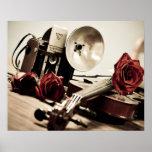 violin, roses, old camera, photography, music,