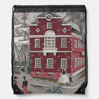 Vintage Print Boston Drawstring Bag