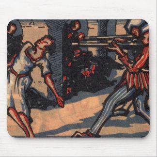 Vintage print Girl being killed by gunmen mousepad